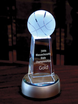 Engraved Crystal Award Basketball