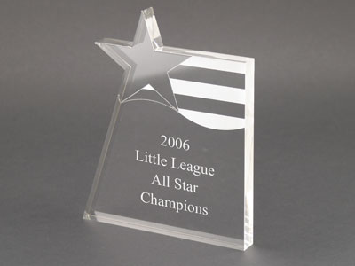 Clear Stars N Stripes Engraved Crystal Award