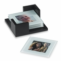 Glass Photo Coasters - 4 piece w/ Holder
