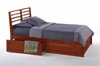 Twin Jasmine platform bed with two bunk drawers