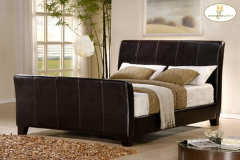 Queen size upholstered sleigh bed # 5785-HOE