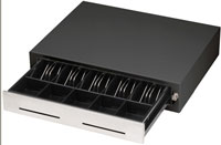(Click to Enlarge) MMF CASH DRAWER [226-113193411-04] - MMF  CASH DRAWER  HERITAGE 240  MULTI SERIAL  BLACK  DUAL SLOT  STAINLESTAINLESS STEEL FRONT  BELL  INTERNATIONAL (Requires: CABLE) [226-113193411-04]