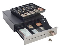 (Click to Enlarge) MMF CASH DRAWER [adv-113b17310-04] - MMF - ADVANTAGE - CASH DRAWER - STAINLESS FRONT - 3 SLOTS - DROP SAFE - 18X16.7 - 8BILL/8COIN EURO COIN SLANT TILL - PRINTER DRIVE - NO BELL - BLACK - CABLE NOT INCLUDED [adv-113b17310-04]