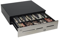 (Click to Enlarge) MMF CASH DRAWER [adv-111b11511-04] - MMF - ADVANTAGE - CASH DRAWER - STAINLESS - NO SLOTS - 18X16.7 - 5BILL/5COIN - US TILL - STANDARD SERIAL - KEY RANDOM - BELL - BLACK - HARDWIRED 9 PIN SERIAL CABLE AND POWER SUPPLY INCLUDED [adv-111b11511-04]