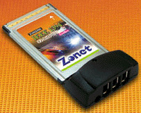 (Click to Enlarge) Zonet IEEE 1394 CardBus Card 3-Port Firewire host (ZUN2300)