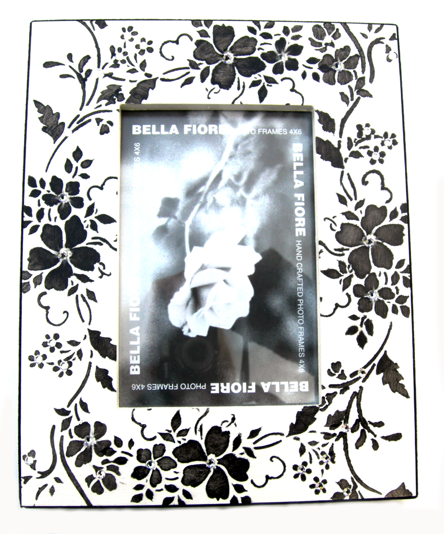 Bella picture frames gallery craft decoration ideas black white fiore jewelled frame by bella fiore home wedding boutique bella fiore picture frames black jeuxipadfo Gallery