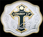 Cowboy Up Cross Belt Buckle by Montana Silversmiths