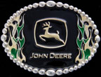 John Deere Flames Belt Buckle