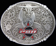 Antiqued PBR Bull Buckle
