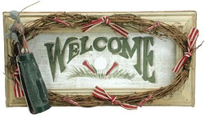 "Wooden ""Welcome"" Golf Sign"