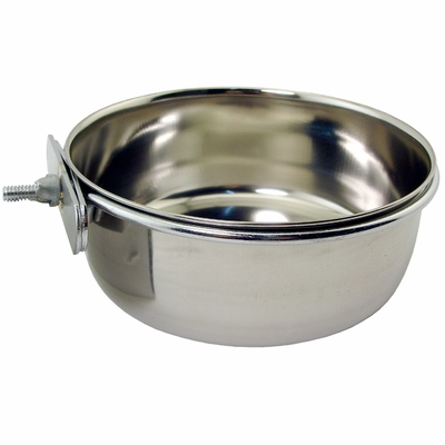 Small Stainless Steel Kennel Cup with Bolt Snap -- approx 30 oz.