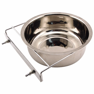 Large Stainless Steel Kennel Cup with Bolt Clamp -- approx 88 oz.