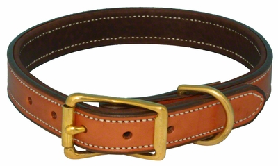 K-9 Komfort 1 in. Premium Deluxe Leather Standard Collar -- Tan Skirting with Dark Brown Buffalo Liner