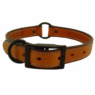 CLEARANCE -- 1 in. K-9 Komfort Deluxe Leather Center Ring Collar with Black Hardware