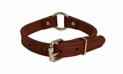 3/4 in. Leather Center Ring Puppy / Small Dog Collar -- 12 inch