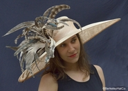 Fabulous Feather Derby Hat<br>in Beige with Brown Feathers