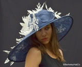 Kentucky Derby Featherdrift Hat<br> in Navy Blue