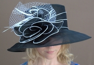 Organza Derby Hat<br>with Self Flower