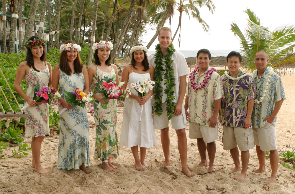 Click To Enlarge Rayon Hawaiian Beach Bridal Party Clothing