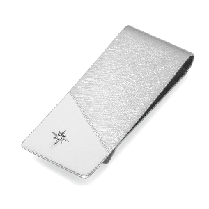 Engraveable 23K Gold and Rhodium Electroplated Diamond Money Clip BMC-113-D-R
