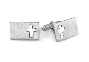 Engraveable Rectangle Cross Cuff Links Sterling Silver SCL-749
