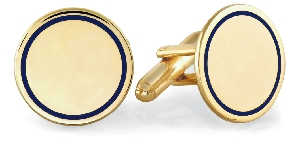 Engraveable Navy Blue Round Cuff Links 23K Gold and Rhodium Electroplate BCL-080