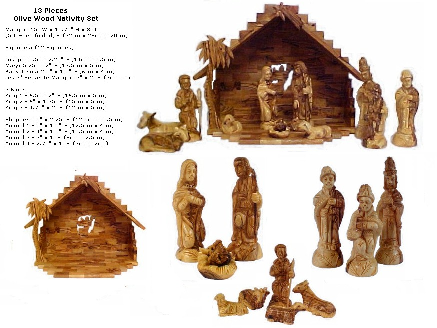 click to enlarge olive wood deluxe nativity scene - Wooden Nativity Set