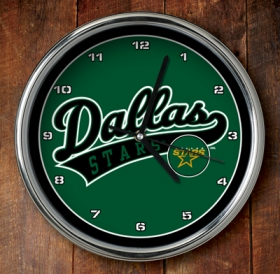 Dallas Stars Chrome Wall Clock