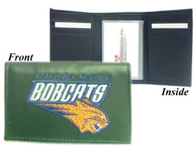 Charlotte Bobcats Embroidered Leather Tri-Fold Wallet