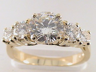2.33 Carat Five Round Diamond Engagement Ring SOLD