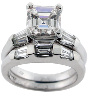2.85 Carat Asscher Cut Diamond Engagement Wedding Set SOLD