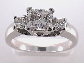 1.47 Carat Princess Cut 3 Stone Diamond Engagement Ring SOLD