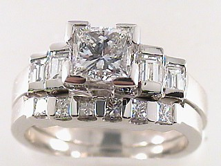 2.03 Carat Princess Cut Diamond Engagement Ring & Wedding Band SOLD