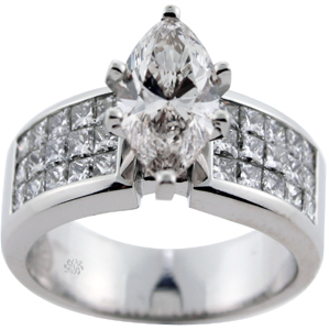 3.45 Carat EGL Marquise Cut Diamond Engagement Ring SOLD
