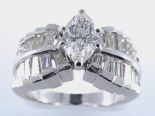 2.30 Carat Marquise & Baguette Diamond Engagement Ring SOLD