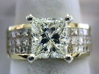 3.31 Carat Princess on Invisible Princess Diamond Ring SOLD