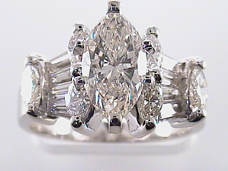 3.10 Carat Marquise Cut Diamond Engagement Ring SOLD