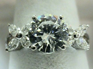 2.75 Carat Brilliant & Marquise Cut Engagement Ring SOLD