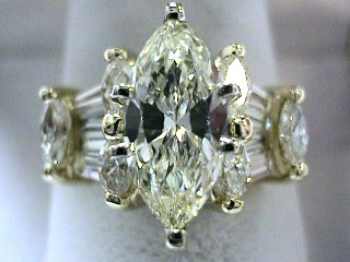 3.14 Carat Marquise Cut Diamond Engagement Ring SOLD