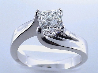 1.0 Carat EGL Certified Sleek Princess Diamond Engagement Ring SOLD