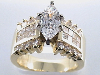 2.76 Ct EGL Certified Marquise & Invisible Set Engagement Ring SOLD