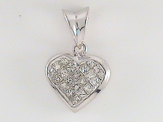 0.30 Carat Invisible Set Diamond Heart Pendant