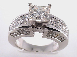 5.29 Carat Invisible Set Princess Diamond Engagement Ring SOLD