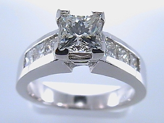 1.89 Carat EGL Princess & Channel Princess Platinum Ring SOLD
