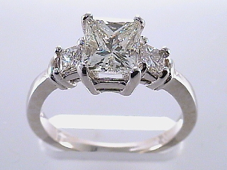 1.97 Carat 3 Princess Diamond Engagement Ring SOLD