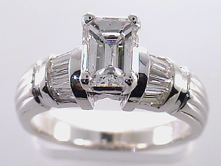 1.79 Carat EGL Emerald Cut Diamond Engagement Ring SOLD