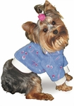 Toy & Teacup Embroidered Fleece French Blue Sweater