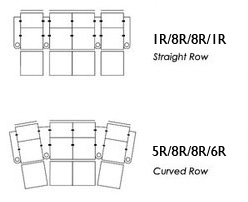 Pallser Carona Row of Four Theater Seating with Loveseat