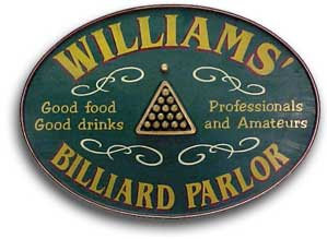 Personalized Billiard Parlor Sign