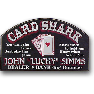 Personalized Poker Card Shark Sign